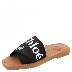 Chloe Black Canvas 'Woody' Logo Print Strap Sandals Size 36