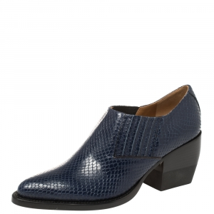 Chloe Blue Snake Embossed Leather Block Heel Ankle Booties Size 37 - used