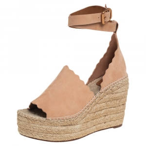 Chloe Beige Suede Scalloped Espadrille Wedge Platform Sandals Size 41