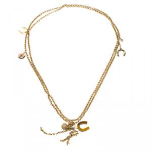 Chloe Horse Shoe Gold Tone Double Layer Charm Necklace