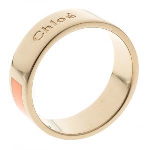 Chloe Holly Peach Enamel Gold Tone Ring Size 52