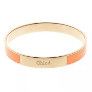 Chloe Holly Peach Enamel Gold Tone Bangle Bracelet S