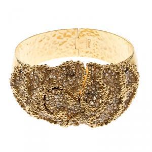 Chloe Crystal Gold Tone Chunky Cuff Bracelet 17cm