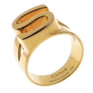 Chloe Alphabet S Gold Tone Ring Size 54