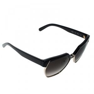 Chloe Black/Brown Gradient CE665S Dafne Geometric Metal Mix Sunglasses