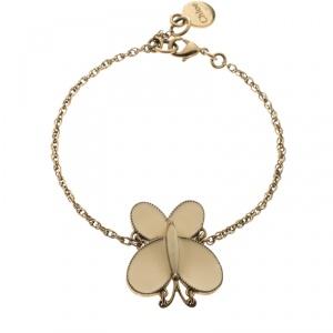 Chloe Cream Enamel Butterfly Gold Tone Charm Bracelet