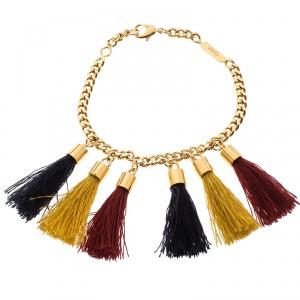 Chloe Lynn Multicolor Tassel Gold Tone Bracelet