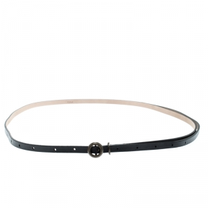 Chloe Black Leather Thin Belt 120cm