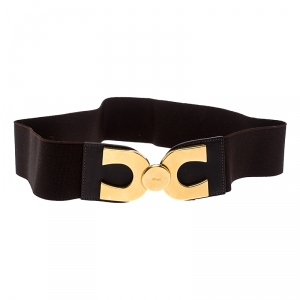 Chloe Dark Brown Fabric and Leather Elastic Waist Buckle Belt 85CM