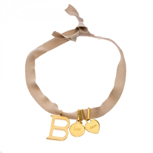 Chloe B & Love Charm Gold Tone Ribbon Tie-up Choker Necklace
