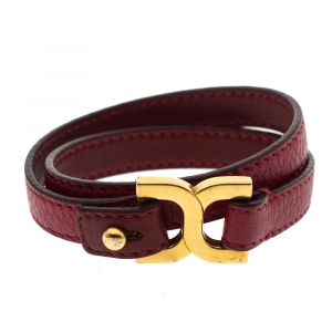 Chloe Red Leather Double Wrap Bracelet