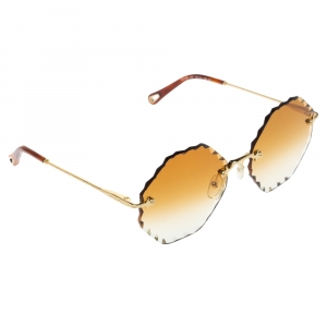Chloé Gold Tone/ Brown Gradient CE143S Rosie Octagonal Sunglasses