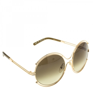 Chloe Gold/Green Gradient CE122/s Round Oversized Sunglasses