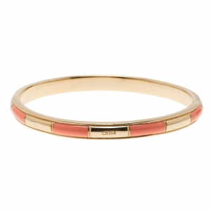 Chloe Logo Embossed Pink Thin Bangle 21CM