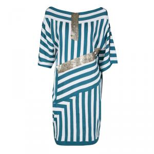 Chloe Aqua Blue and White Striped Knit Metal Sequin Embellished Dress - used
