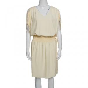Chloe Vanilla Yellow Smocked Waist Lace Insert Tie Detail Dress M - used