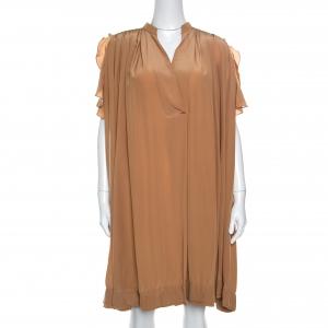 Chloe American Tan Crepe Silk Ruffled Sleeveless Billowy Dress M - used