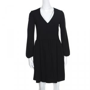 Chloe Black V-Neck Gathered Waist Long Sleeve Dress S - used
