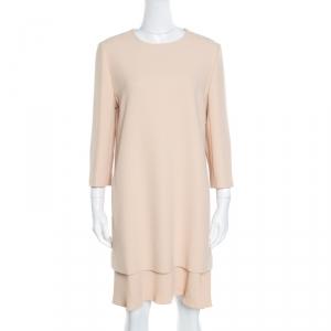 Chloe Beige Crepe Layered Ruffled Hem Long Sleeve Dress M - used