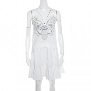 Chloe White Blossom Embroidered Cotton Pleated Mini Dress S - used