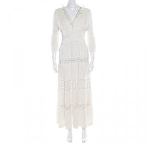 Chloe Cream Linen Pintucked Lace Paneled Maxi Dress S - used