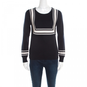 Chloe Navy Blue Wool Contrast Striped Trim Detail Sweater XS - used