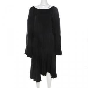 Chloe Navy Blue Twill Asymmetric Oversized Midi Dress L - used