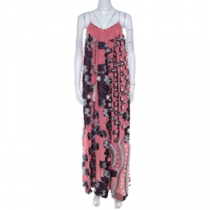 Chloe Pink Silk Chiffon Feather Applique Embellished Maxi Dress M - used