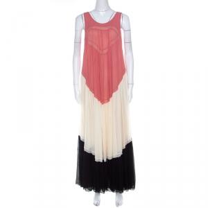Chloe Coral Cream and Black Color Block Silk Chiffon Ruffled Maxi Dress M - used
