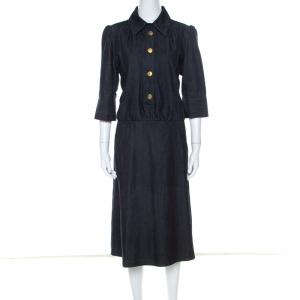 Chloe Blue Dark Wash Denim Cotton Puff Sleeve Dress L - used