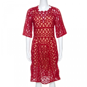 Chloe Lacquer Red Corded Lace Contrast Silk Lined Sheath Dress S - used