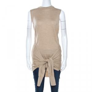 Chloe Seed Brown Wool Tie Up Detail Sleeveless Top S - used