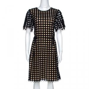 Chloe Black Cotton Eyelet Lace Scalloped Sheath Dress M - used