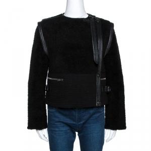 Chloe Black Shearling Leather Trim Biker Jacket S - used