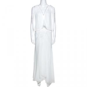 Chloe White Crepe Open Back Detail Draped Maxi Dress L - used