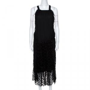 Chloe Black Crepe Lace Skirt Trim Fringed Sleeveless Dress M - used