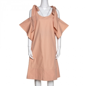 Chloe Pansy Pink Cotton Bow Detail Cold Shoulder Dress M - used