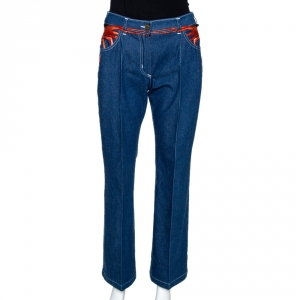 Chloe Blue Denim Lobster Embroidered Flared Jeans L