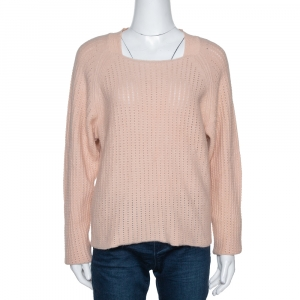 Chloe Peach Angora & Wool Knit Sweater L - used