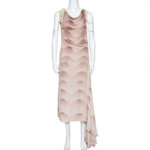 Chloe Vintage Gazelle Ombre Silk Bead Embellished Cowl Neck Dress S - used