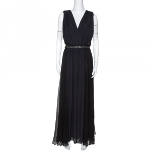 Chloe Black Silk Embellished Sheer Back Sleeveless Gown M used