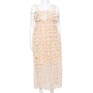 Chloe Pale Orange Floral Lace Empire Waist Midi Dress S - used