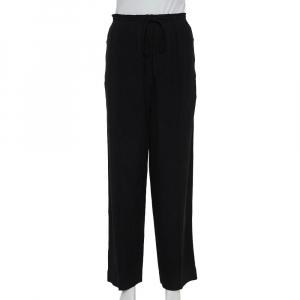 Chloe Black Crepe Rainbow Stripe Detail Trousers L