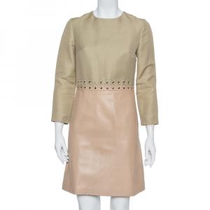 Chloe Beige Linen & Leather Long Sleeve Dress S - used