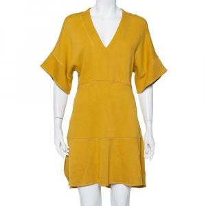 Chloe Mustard Yellow Knit Asymmetrical Hem Mini Dress S - used