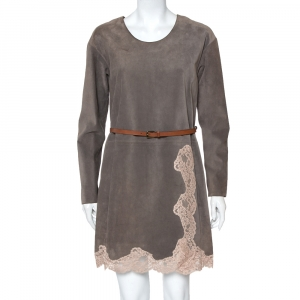 Chloe Grey Suede Lace Trim Detail Belted Dress S - used