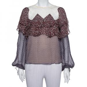 Chloe Multicolor Printed Silk & Lace Top M - used