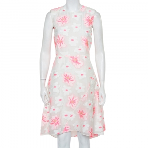 Chloe White & Fluo Pink Floral Embroidered Organza Sheath Dress S - used
