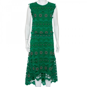 Chloe Green Guipure Lace Sleeveless Asymmetric Hem Dress M