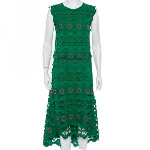 Chloe Green Guipure Lace Sleeveless Asymmetric Hem Dress M - used